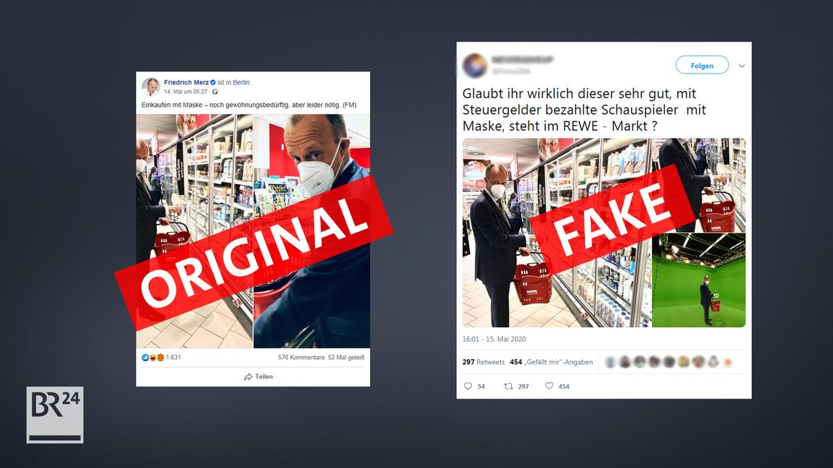 Twitter-User verfälschten ein Bild von Friedrich Merz beim Einkaufen. Der Fake verbreitet sich in Verschwörer-Netzwerken.