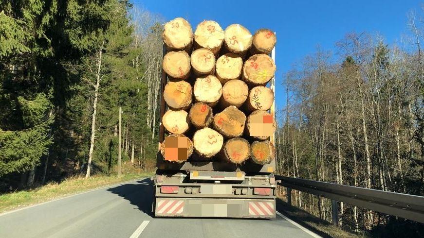 Ein Holzlaster, unterwegs im Bayerischen Wald