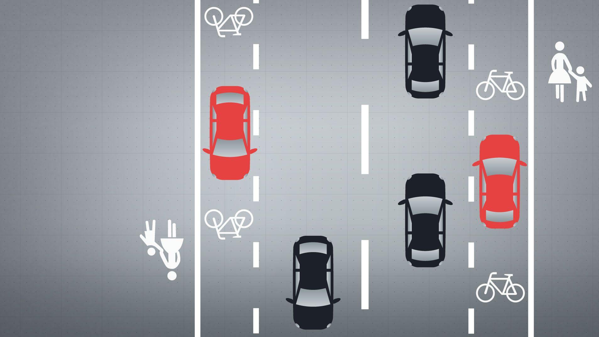 Grafik: Auf dem Fahrradschutztstreifen steht ein Auto.