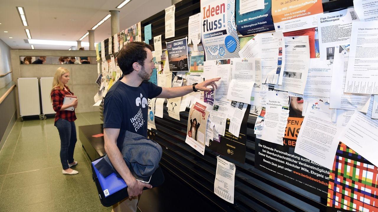 Ein Student steht vor einem schwarzen Brett und schaut sich die Aushänge an.