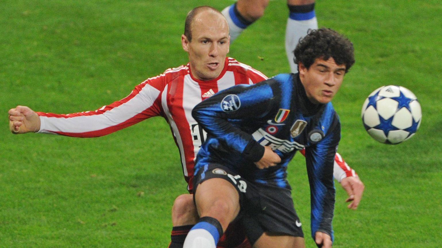 Arjen Robben (links) und Philippe Coutinho in einem Champions-League-Spiel der Bayern gegen Inter Mailand 2011