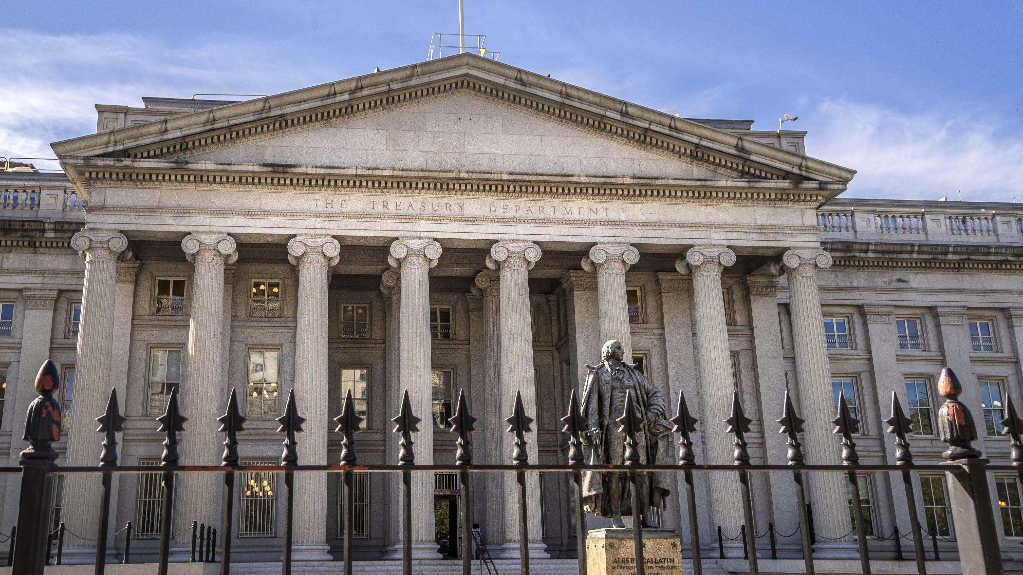 Blick auf das Gebäude des US-Finanzministeriums in Washington