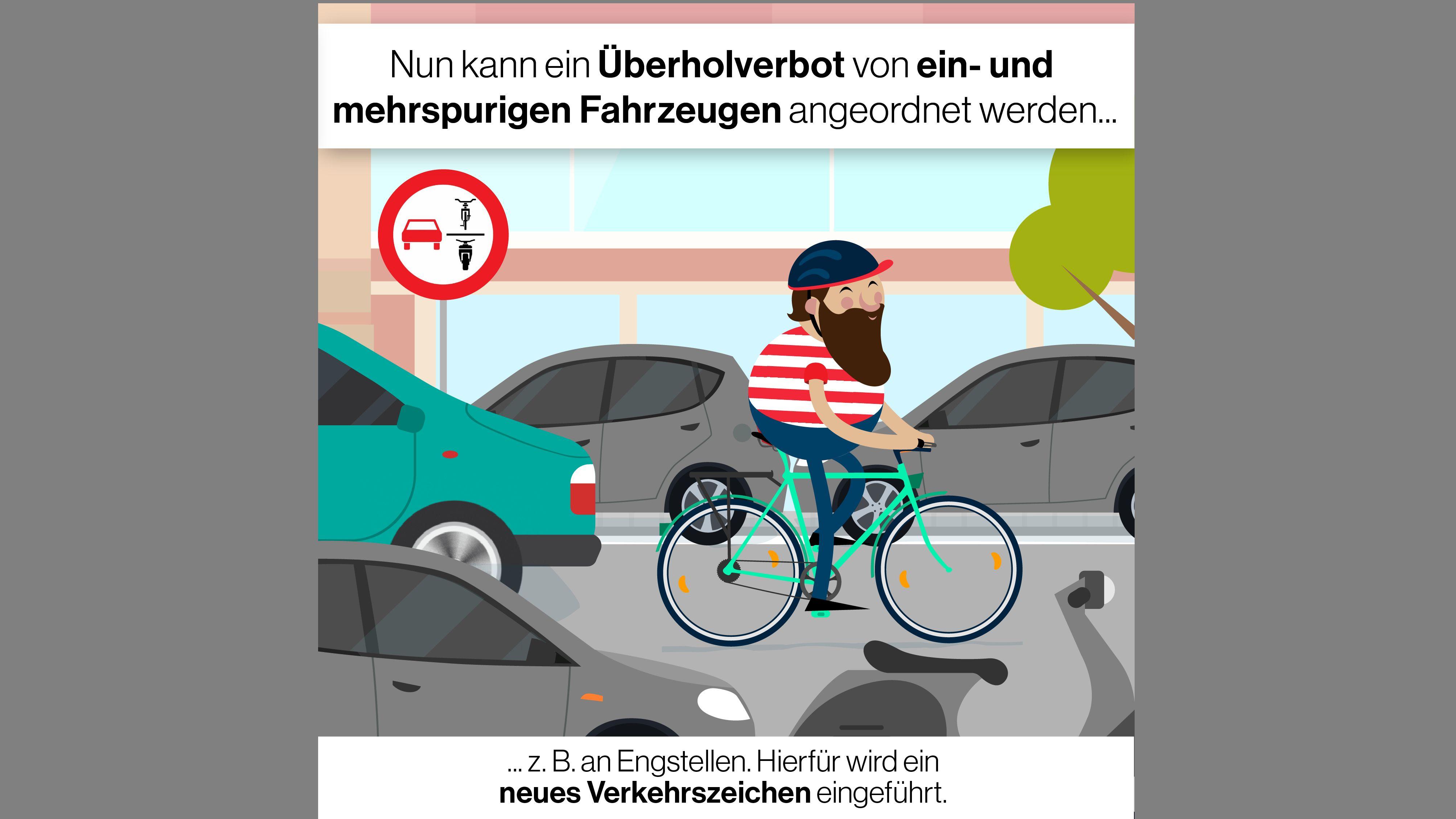 Grafik: Neues Verkehrszeichen für Überholverbote