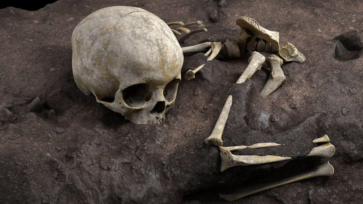 Schädel und Beinknochen auf Erdboden