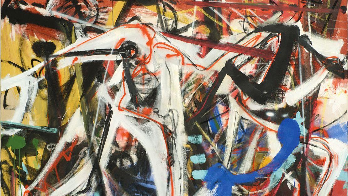 Expressives Gemälde mit verschieden starken Pinselstrichen