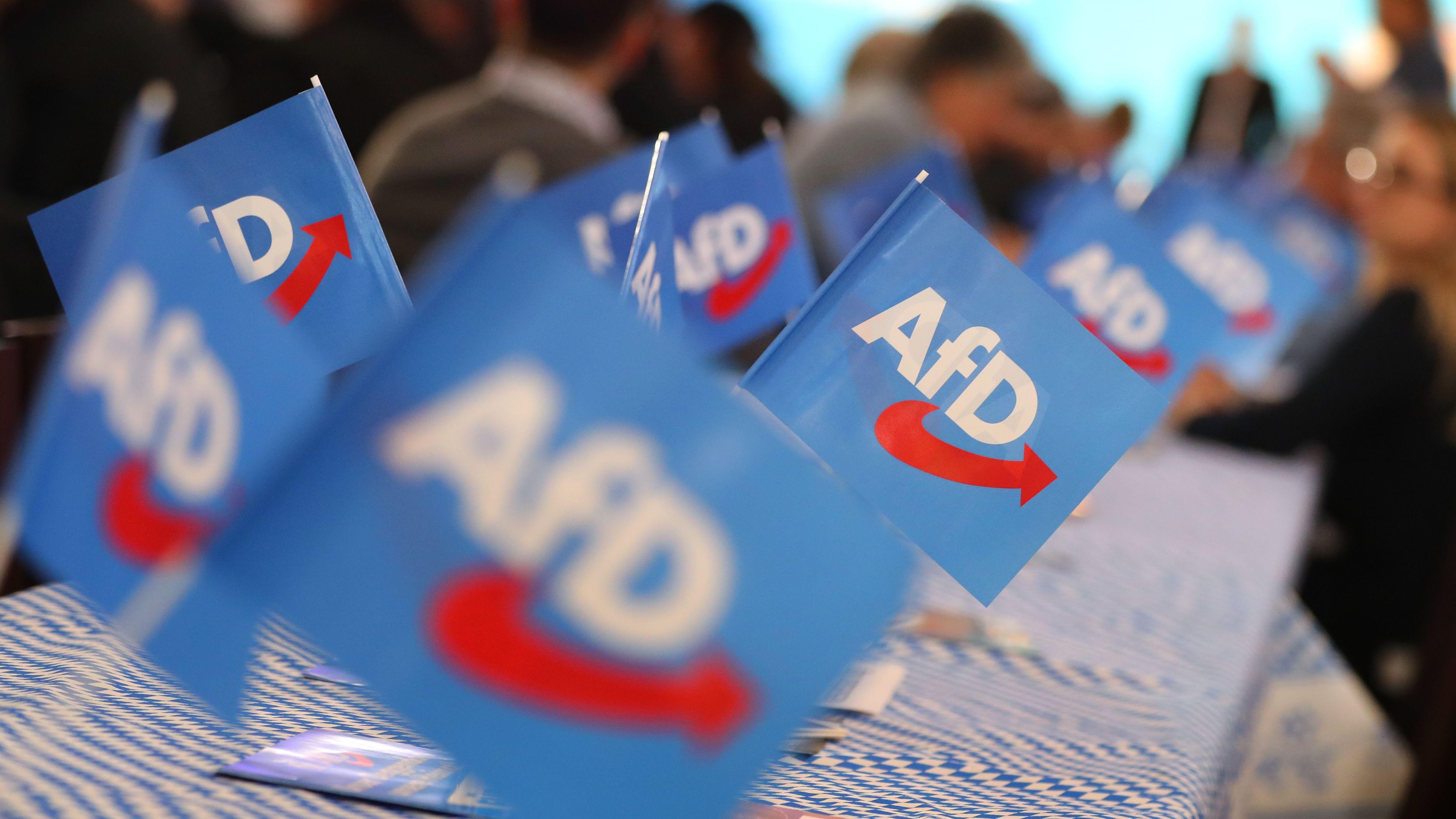 Archiv: Besucher des Politischen Aschermittwochs der Alternative für Deutschland (AfD) sitzen hinter AfD-Fähnchen.