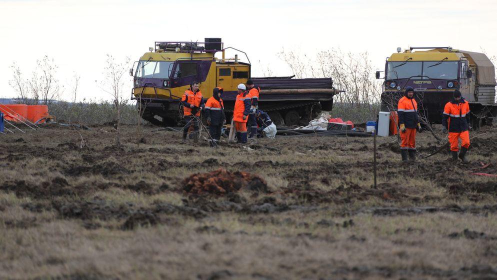 Rund 20.000 Liter Öl sind in Sibirien ausgelaufen. | Bild:Picture Alliance/Press-service of Nornickel