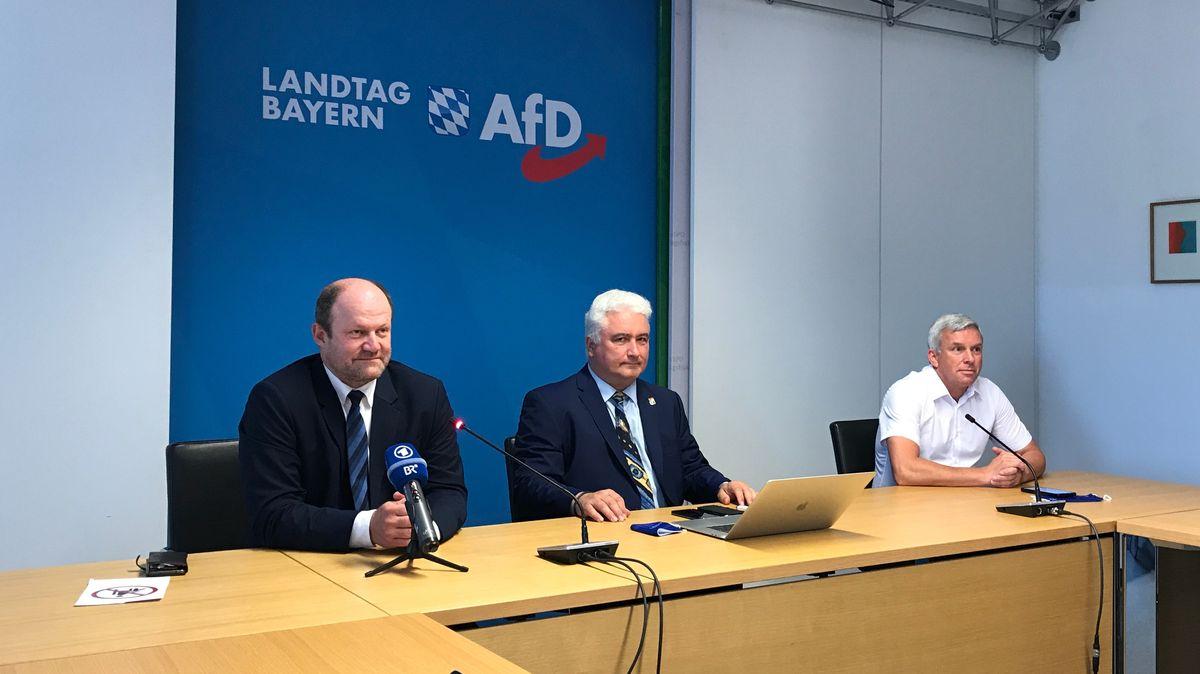 Drei der zwölf Gegner der eigenen Fraktionsspitze: Die bayerischen AfD-Abgeordneten Bayerbach, Klingen und Stadler (v.l.n.r.) am 16.09.20.