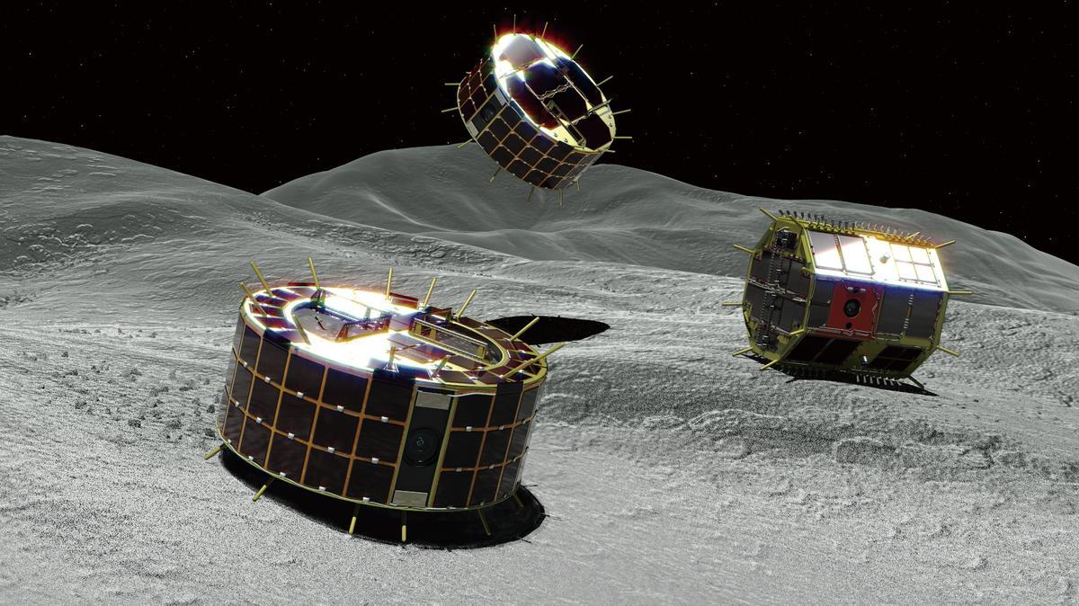 Asteroiden-Landegeräte MINERVA-II auf Ryugu (Computergrafik)