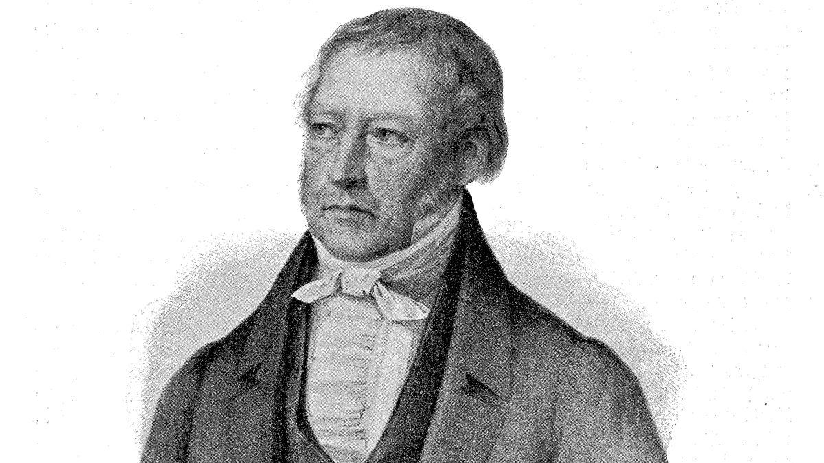 Graphik eines mittelalten Mannes aus dem 19. Jahrhundert  im Gehrock Georg Wilhelm Friedrich Hegel