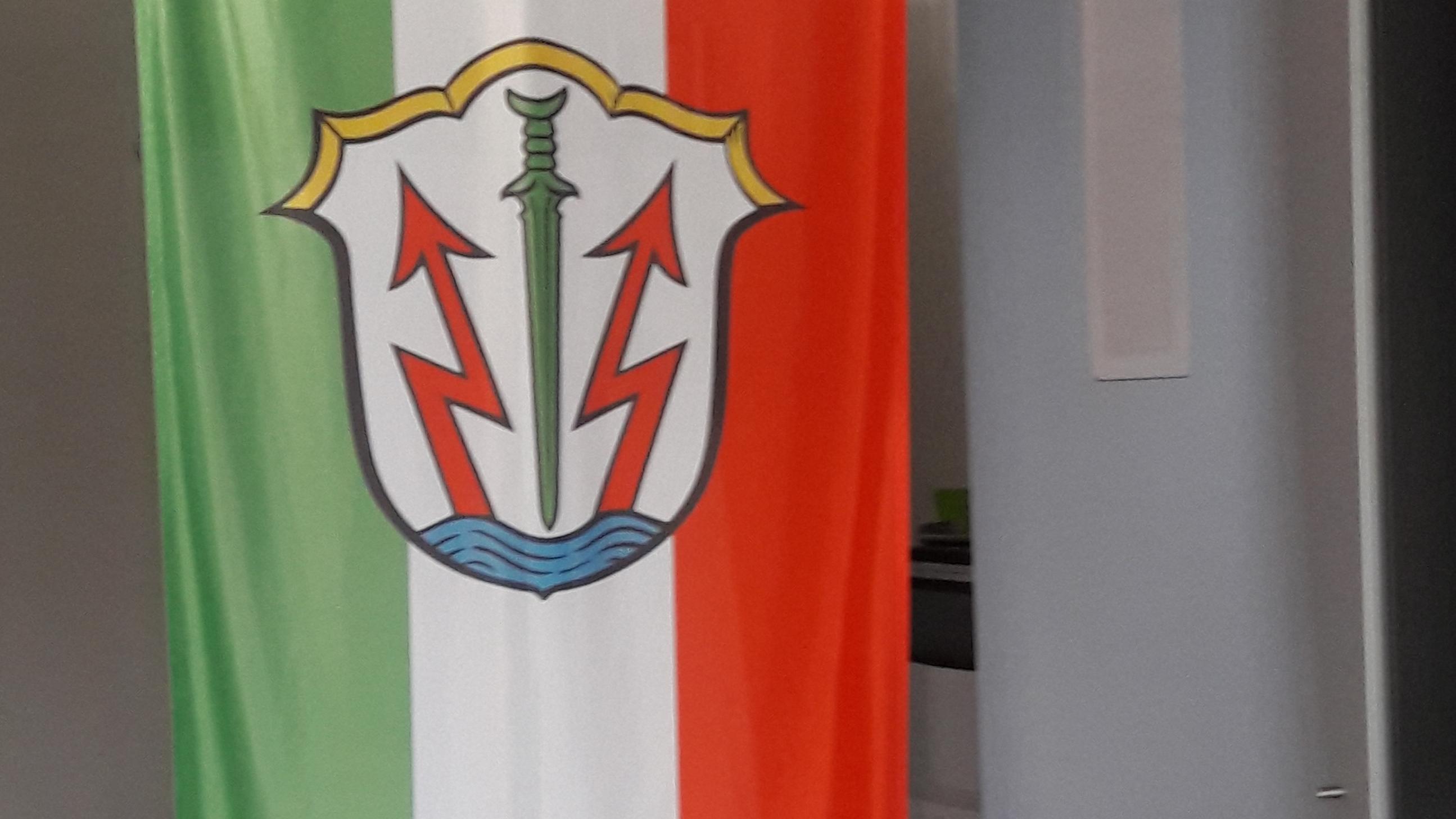 Die grün-weiß-rote Stadtfahne von Töging am Inn mit dem Wappen mit Inn, Blitzen und Schwert.