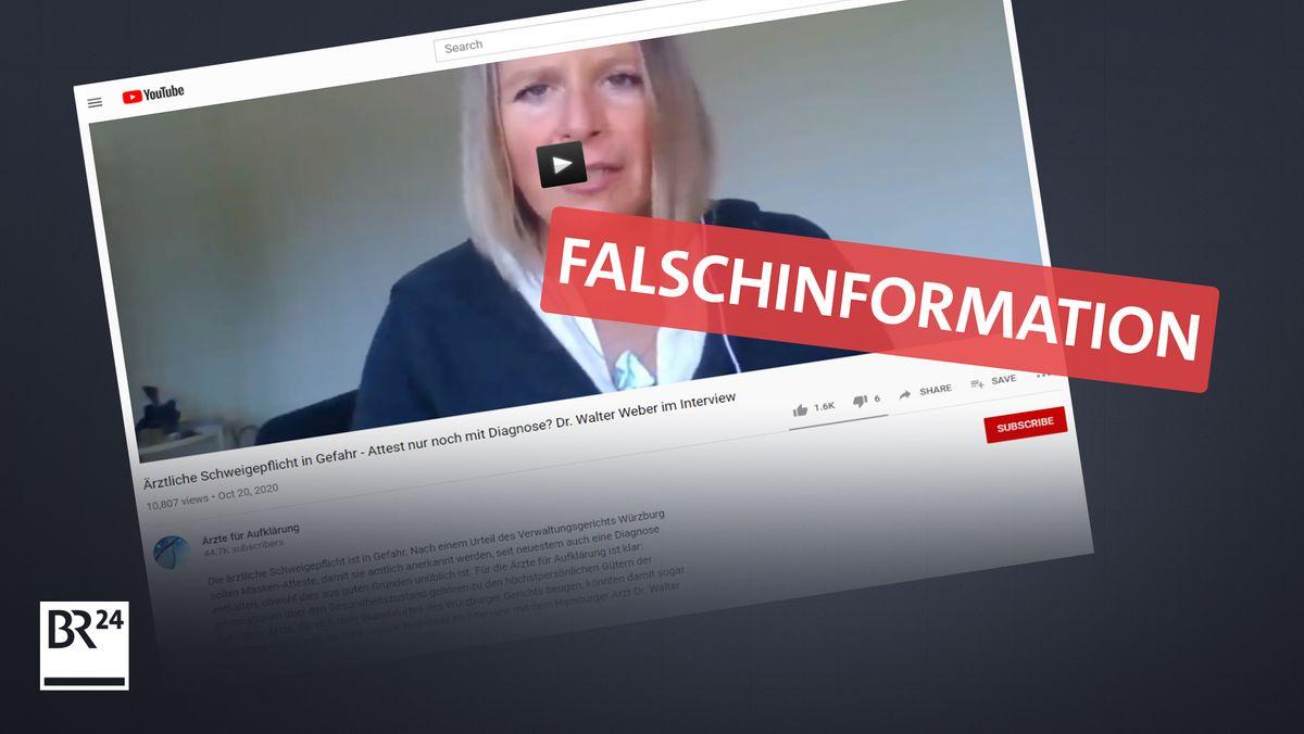 Auf Youtube verbeitet sich die Falschinformation, dass Ärzte sich strafbar machen könnten, wenn sie auf Maskenattesten die Diagnose angeben.