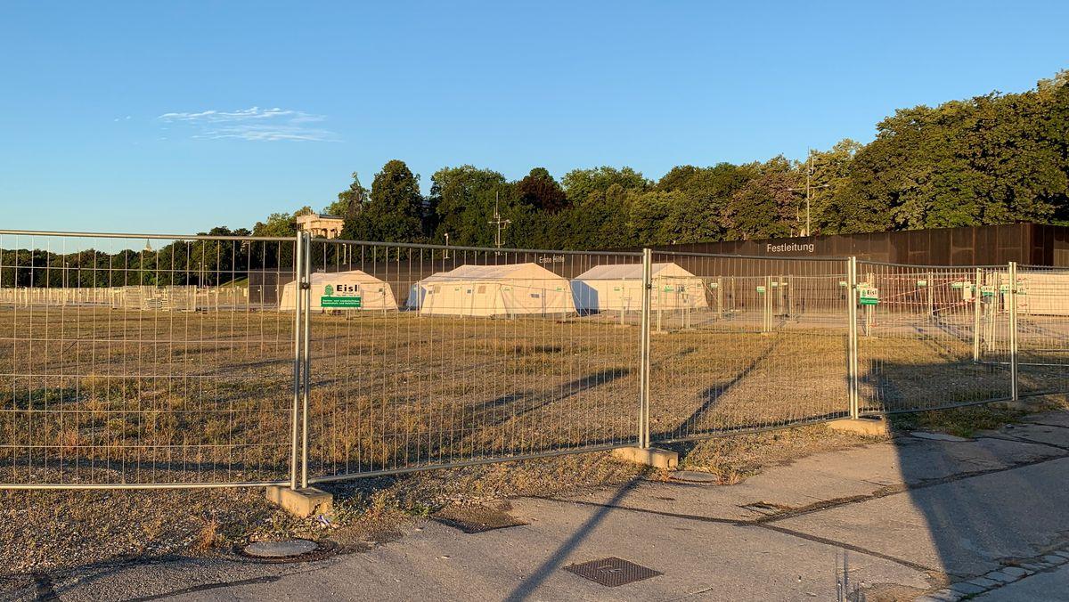 Das geschlossene Corona-Testzentrum auf der Theresienwiese am 27. Juli 2020.