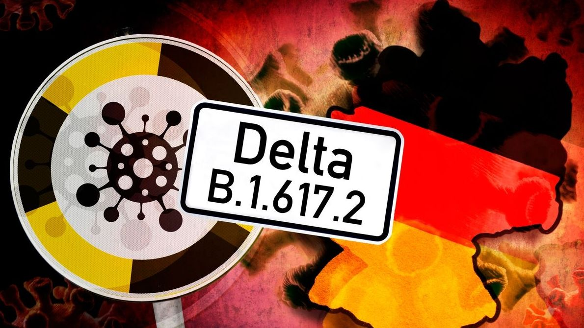 Delta-Corona-Variante vor Deutschlandkarte