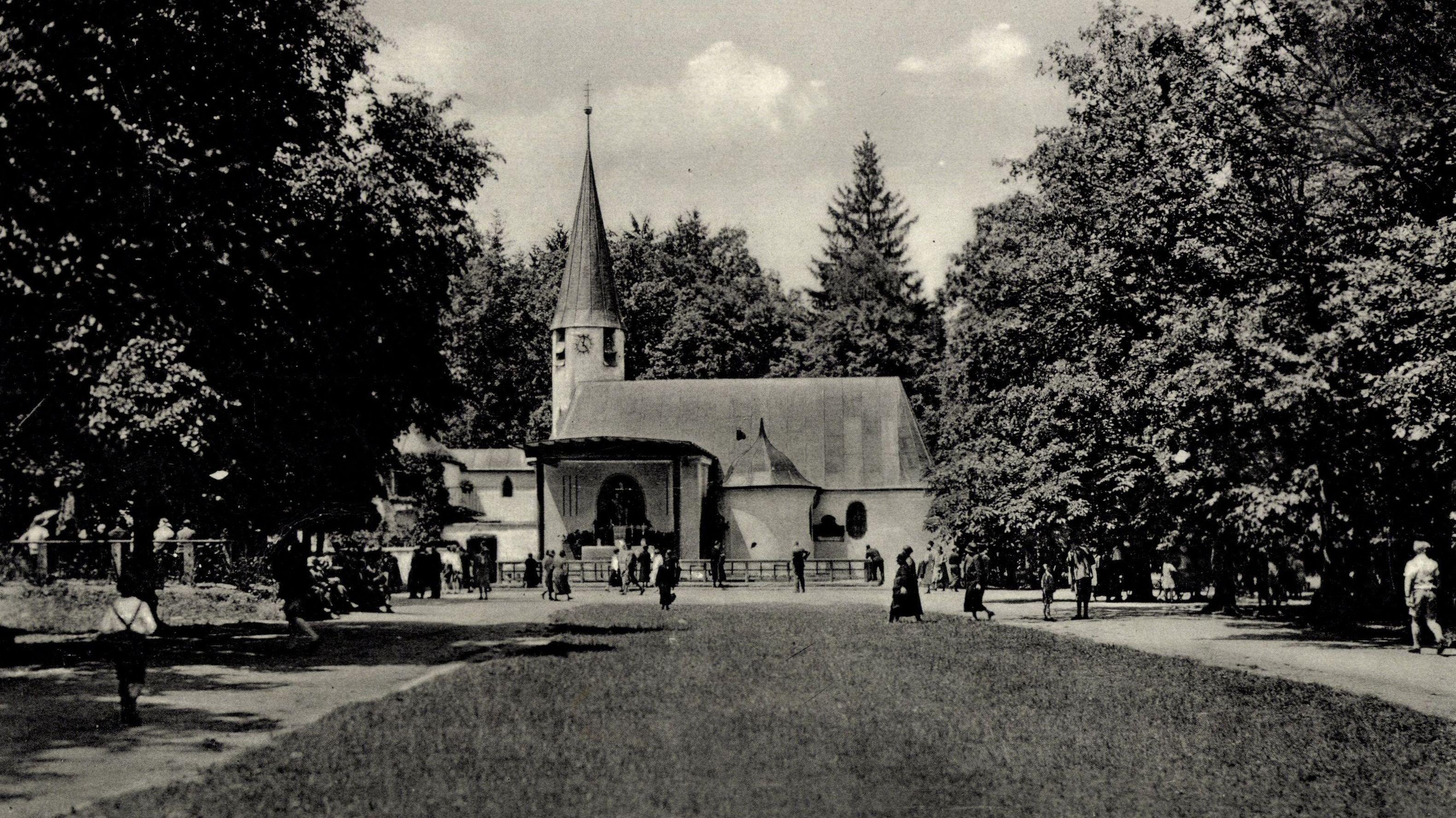 Historische Aufnahme: Der Klosterwald rund um die Wallfahrtskirche Maria Eich in Planegg