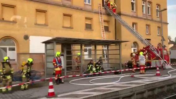 Brand im Bahnhof Neufahrn, vom Zug aus gesehen