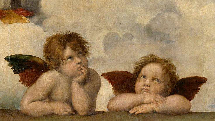 Die beiden Engel am unteren Bildrand, Detail der Sixtinischen Madonna