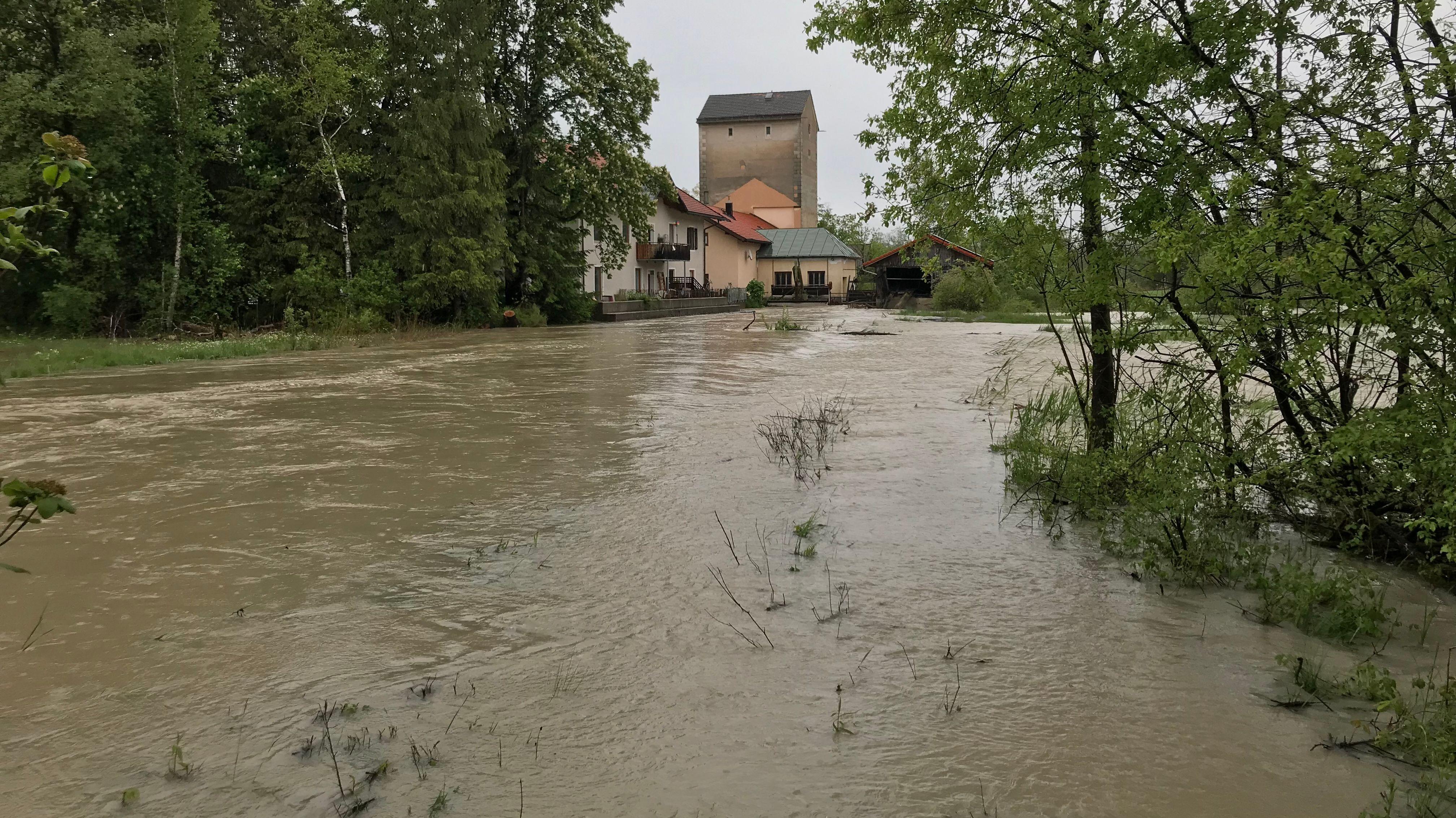 Überschwemmungen in Murnau