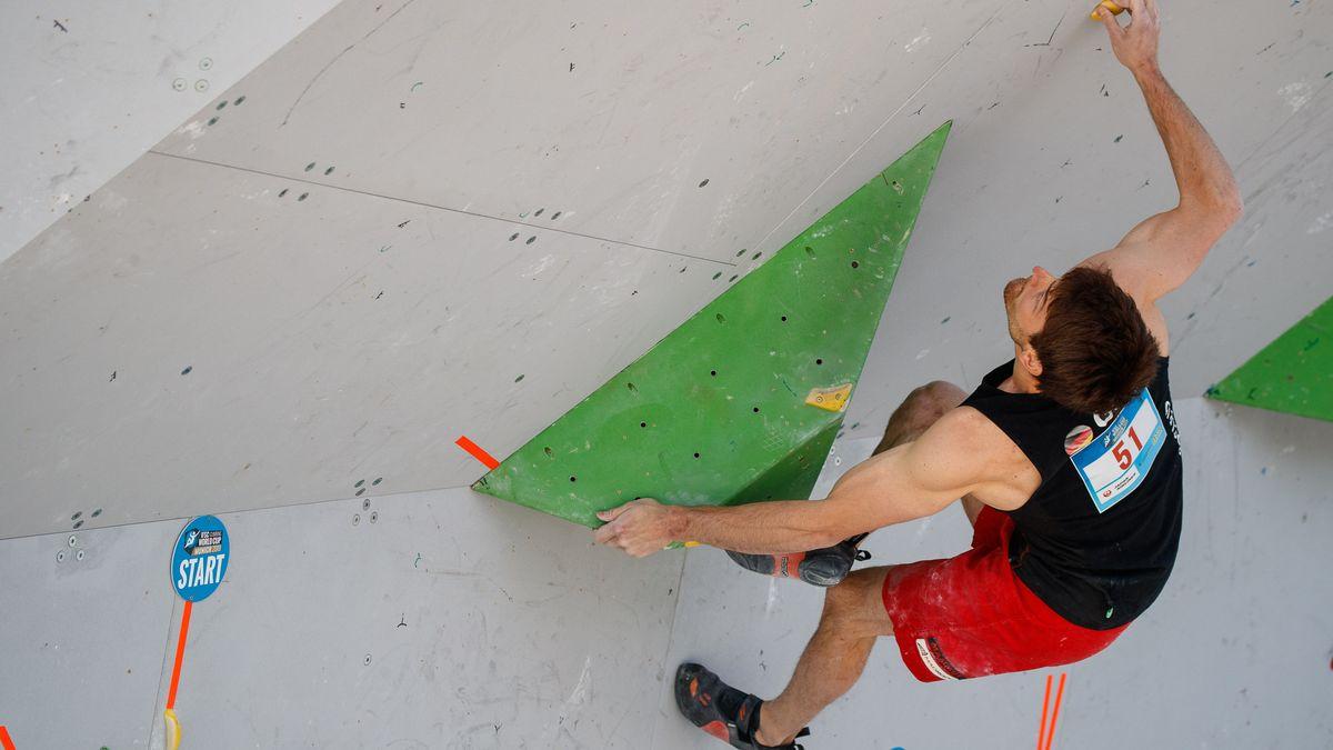 Jan Hojer beim Boulder-Weltcup in München 2019
