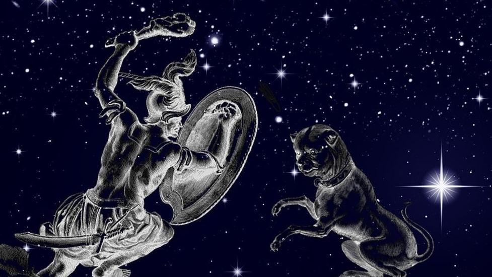 symbolische Darstellung der Sternilder Orion und Großer Hund
