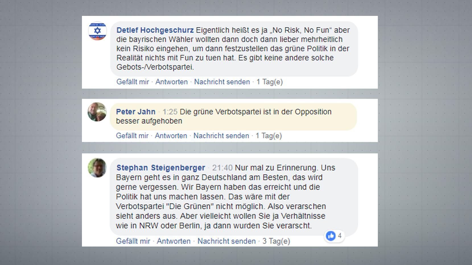 """Auch in Kommentaren zu BR24-Inhalten werden die Grünen """"Verbotspartei"""" genannt."""