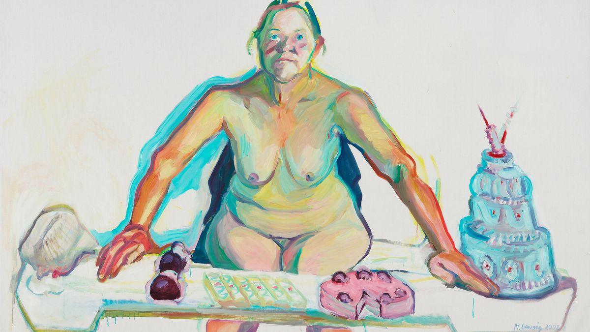 Bild mit nackter Frau, vor sich ein Tisch mit Torten und Obst