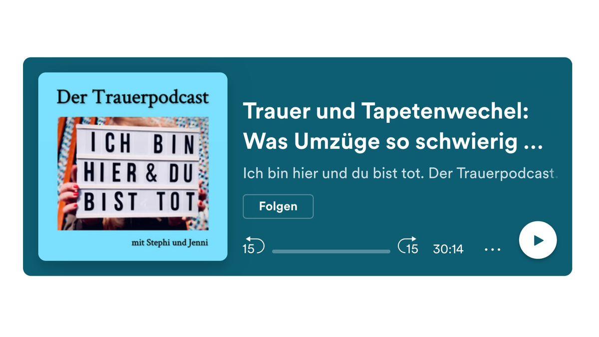 """Screenshot von der Website """"Ich bin hier und du bist tot. Der Trauerpodcast"""""""