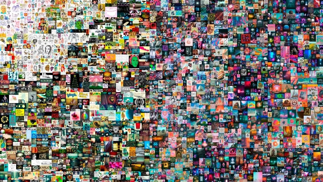 Ein digitales Bild zusammengesetzt aus hunderten kleiner Pixel.