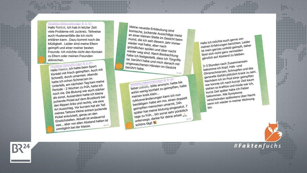 Beispiele von Symptomen, die in Telegram-Gruppen geschildert werden