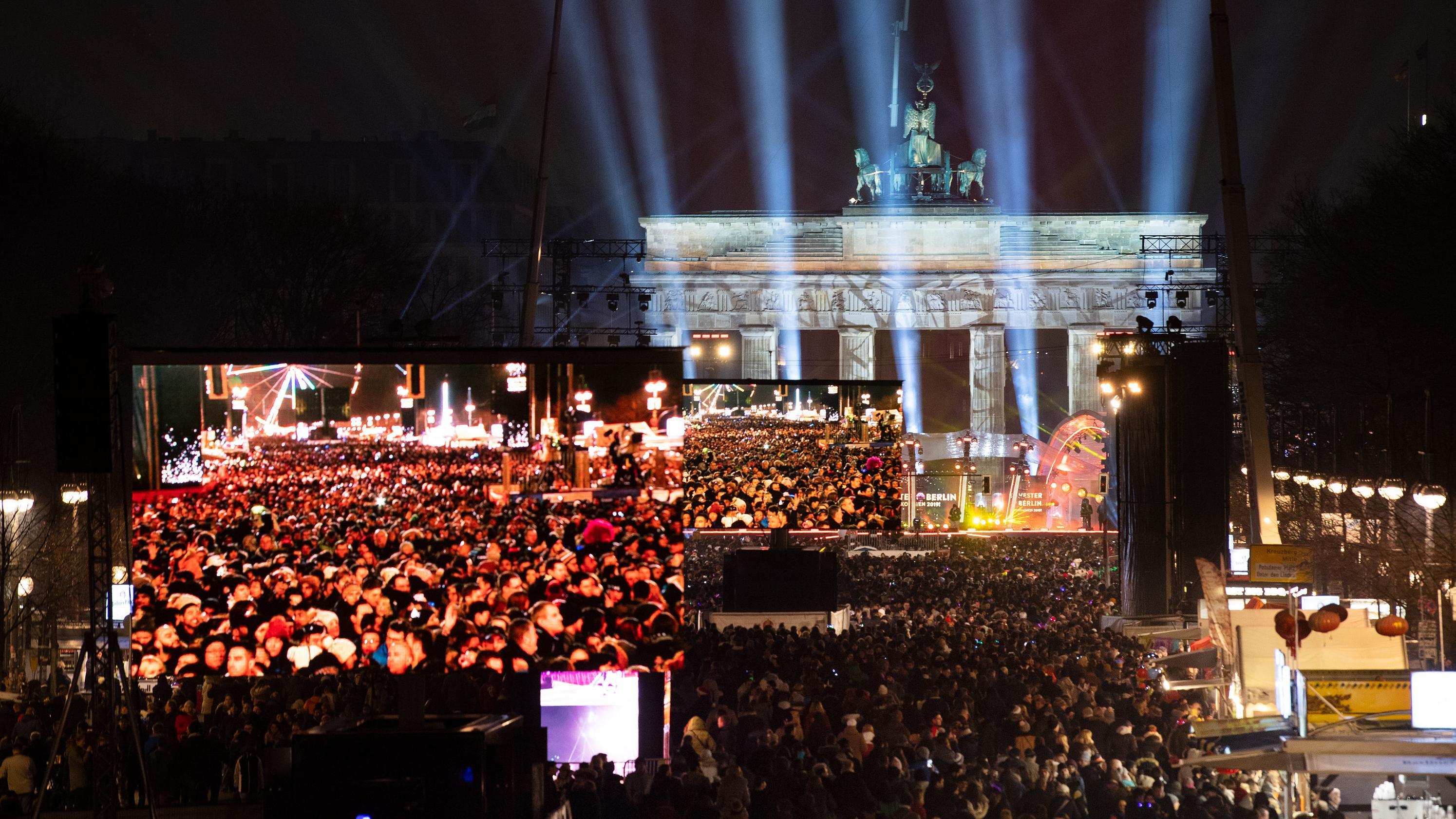 Am Fuße des Brandenburger Tors feierten Tausende die größte Silvesterparty Deutschlands.