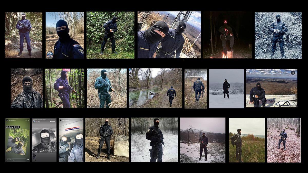 Auf Social Media Accounts inszenieren sich kroatische Polizisten maskiert mit Gewehr und Sturmhaube.