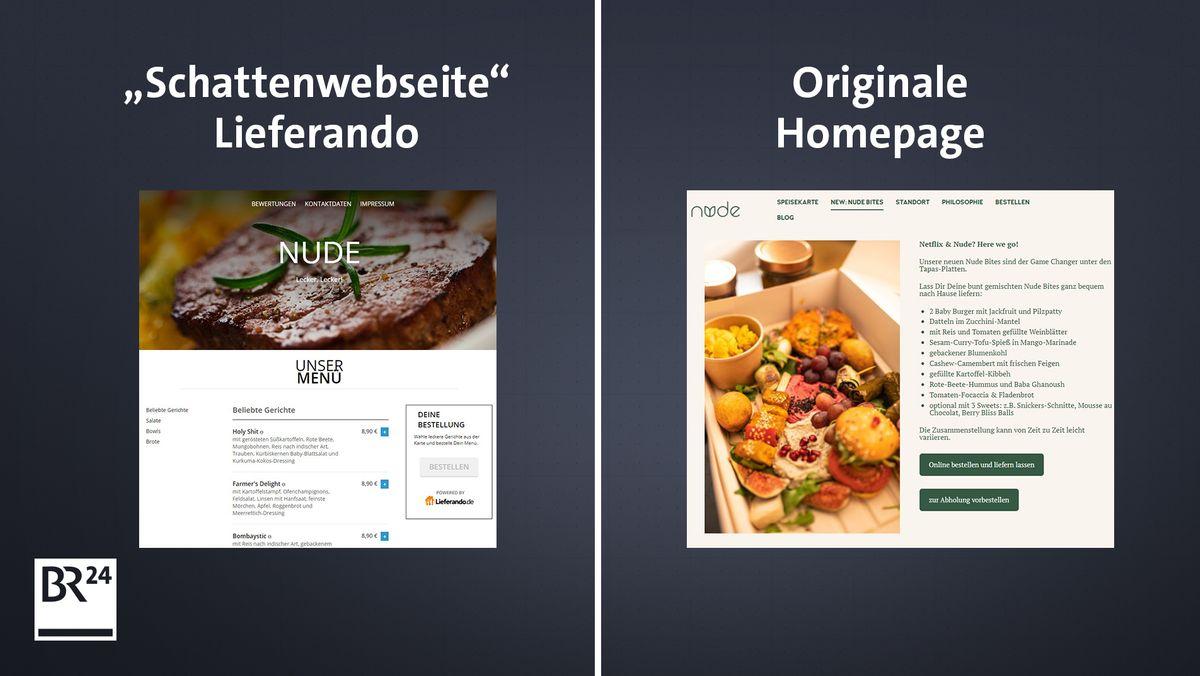 Lieferando-Webseite und originale Webseite