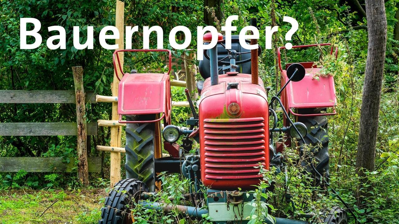 Ein Traktor in einer Wiese mit dem Text: Bauernopfer?