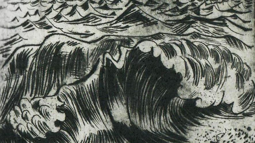 """Ausschnitt aus Otto Pankoks Radierung Bild """"Meer I"""" (1924)"""