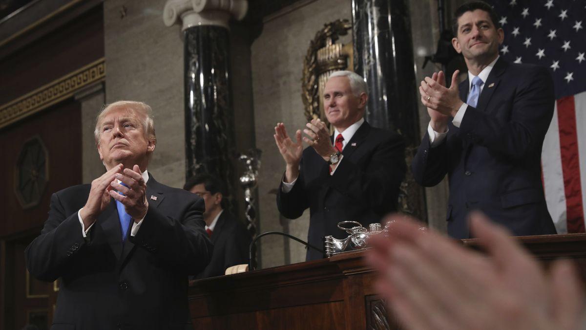 """Archivbild: Trump, Pence und Ryan bei der """"State of the Union""""-Rede des Präsidenten im Januar 2018."""