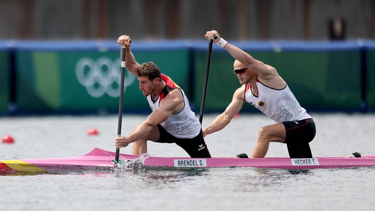 Kanu: Olympia, Canadier-Zweier, 1000 m, Herren, Vorläufe am Sea Forest Waterway. Sebastian Brendel und Tim Hecker (r) von Deutschland in Aktion.