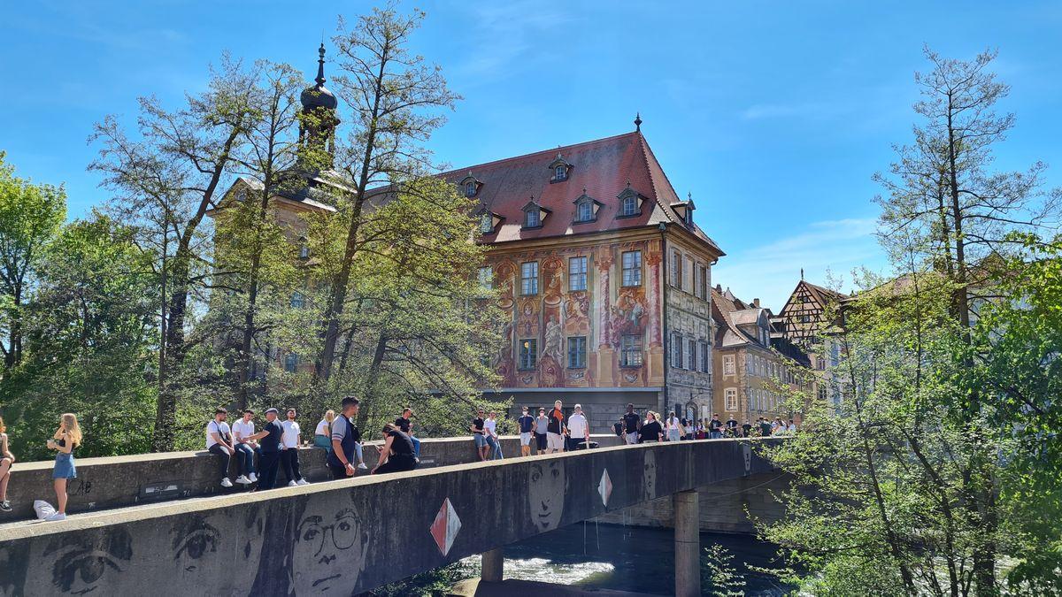 Die Untere Brücke in Bamberg am 9. Mai.