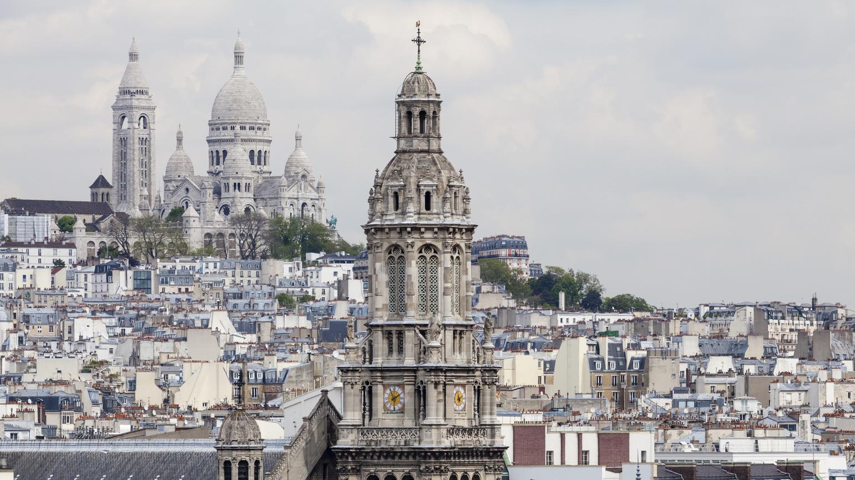 Paris, Frankreich: Stadtansicht mit Sacré Coeur und Montmartre.