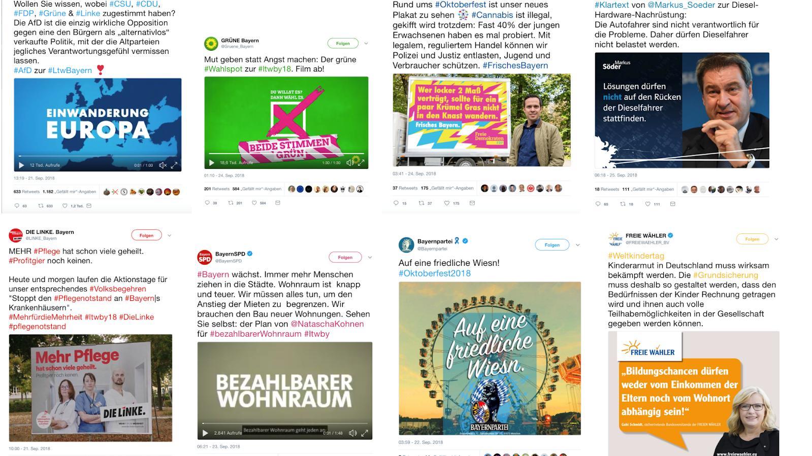 Die meist gelikten Tweets der bayerischen Parteien