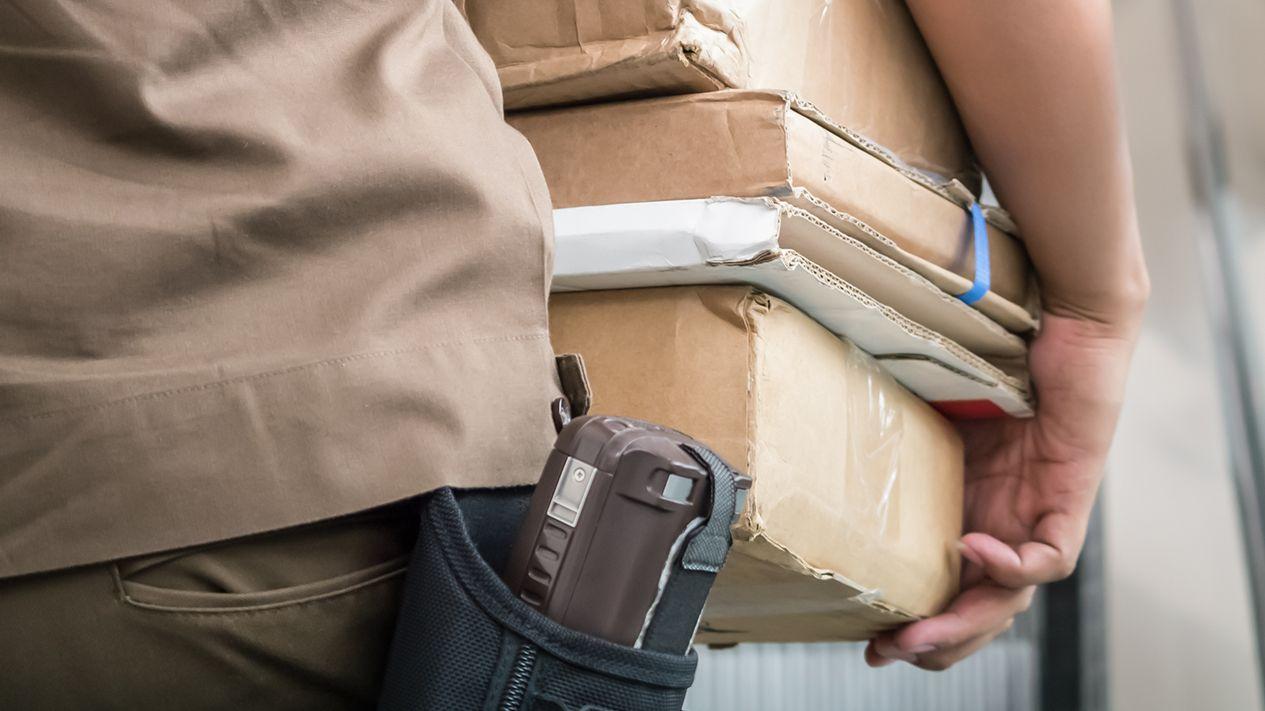 Paketbote trägt Päckchen