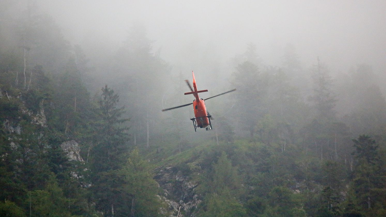 Bergungsaktion mit Rettungshubschrauber am Poschberg