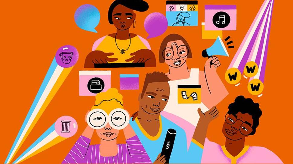 """Plakat des Festivals """"Latitude"""" mit gezeichneten Menschen unterschiedlicher Hautfarbe"""