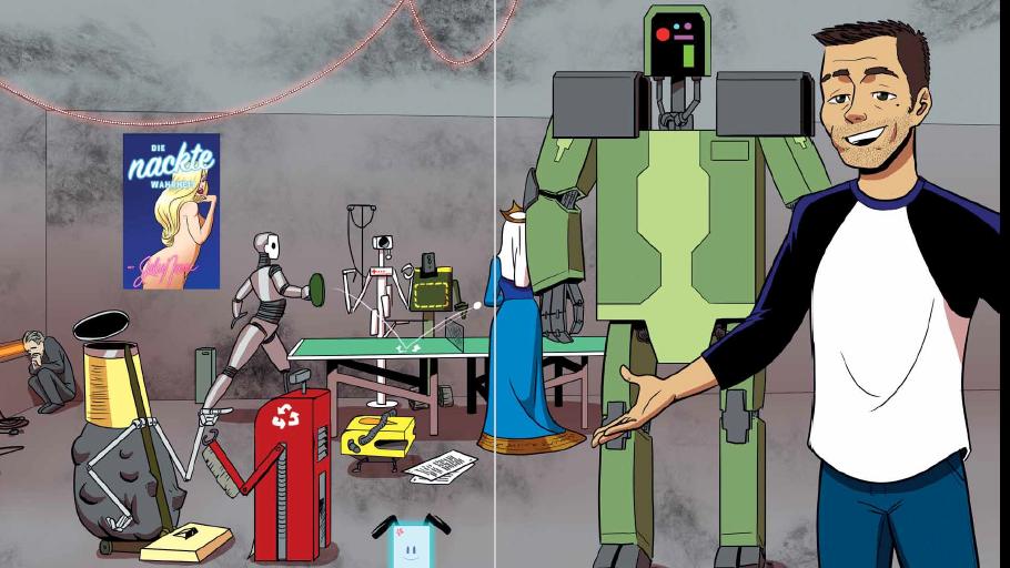 Comic; Mann rechts im Bild, neben einem Roboter, im Hintergrund ein blondes Pin Up Girlauf einem Plakat