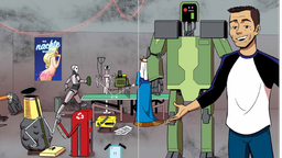 Comic; Mann rechts im Bild, neben einem Roboter, im Hintergrund ein blondes Pin Up Girlauf einem Plakat | Bild: Zachary Tallent/Voland & Quist