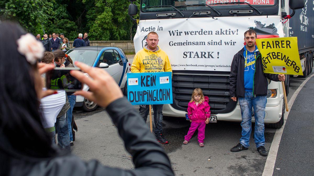 Berufskraftfahrer demonstrieren gegen Dumpinglöhne