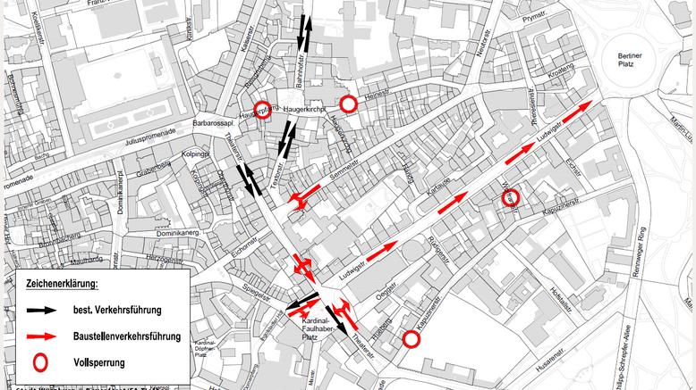 Grafik der geplanten Baustellen in der Würzburger Innenstadt