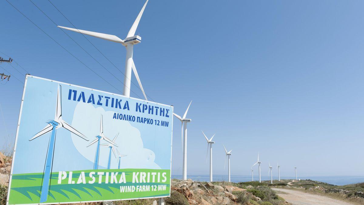 Windräder bei Elounda auf Kreta.
