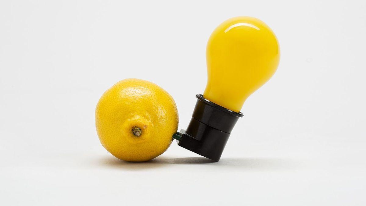Gelbe Glühlampe in schwarzer Fassung, deren Metallstifte in einer Zitrone stecken