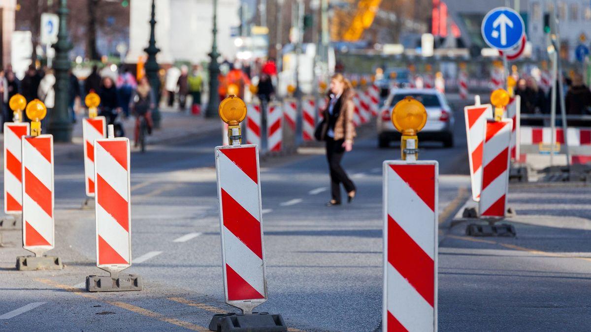 Geänderte Verkehrsführung wegen einer Baustelle