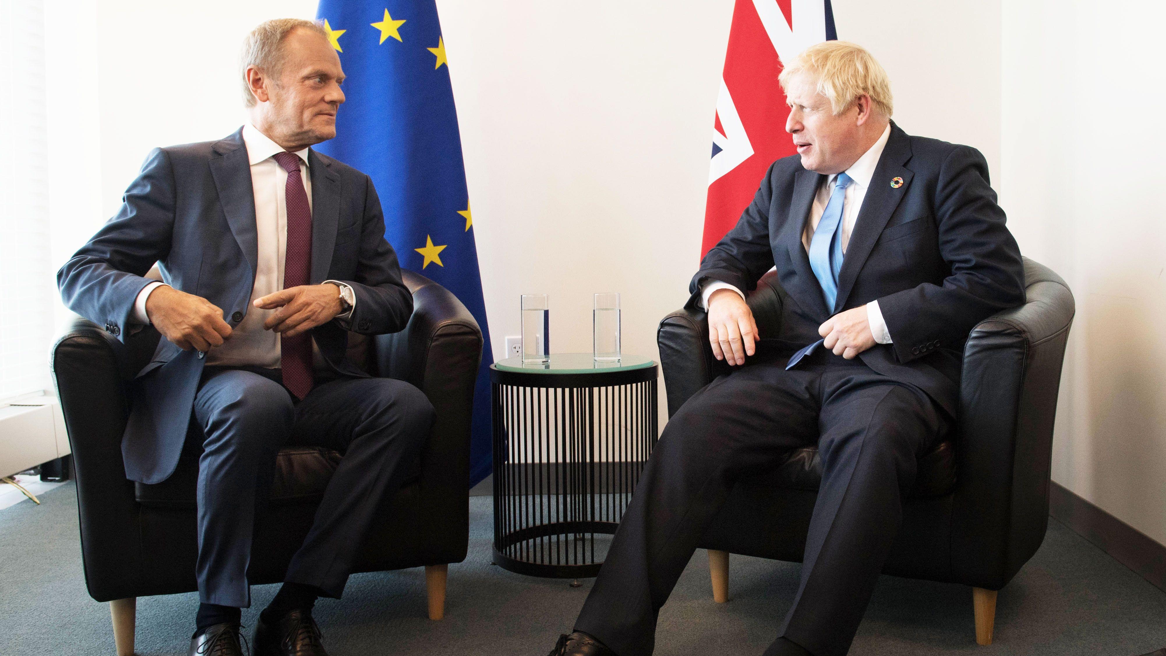 Der britische Premier Boris Johnson und EU-Ratspräsident Donald Tusk am 23. September bei den Vereinten Nationen in New York.